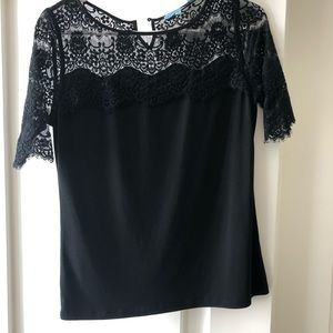 Black top with lace accent